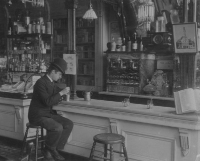 calumet412:  The soda fountain at Vogelsang's Drugstore, Lincoln and Fullerton, c.1895, Chicago.