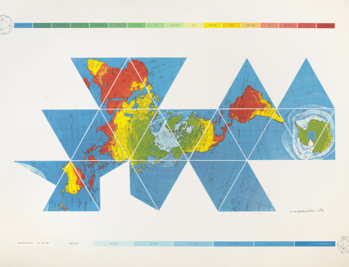 A Dymaxion air-ocean map, from the The Utopian Impulse exhibitio, as seen in the New York Times story, R. Buckminster Fuller's Comeback at a San Francisco Museum. See also: the map on display at SFMOMA.
