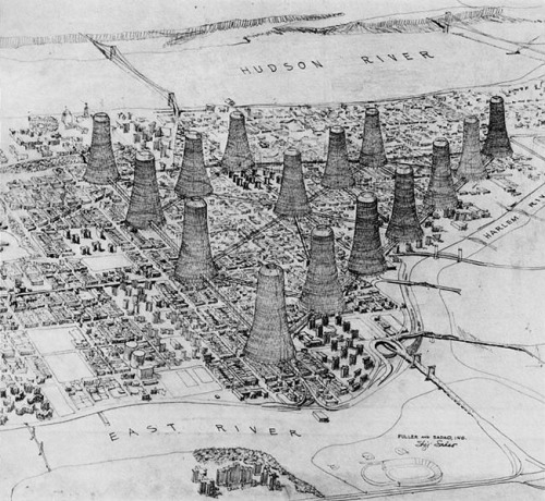 Housing in towers, a 1964 proposal by Buckminster Fuller and Shoji Sadao for Harlem in upper Manhattan. (I've seen the proposal for a dome over Manhattan, but these cooling-tower like structures are new to me.)