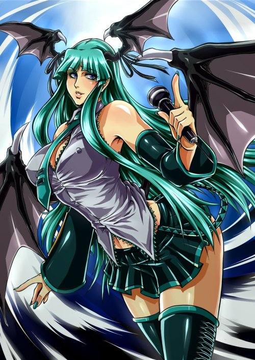 Hatsune Morrigan // artwork by Luis Andres Pomalasa (2012) Vocaloid/Darkstalkers Crossover.