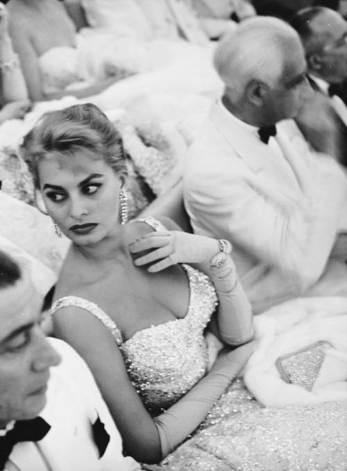 Sophia Loren attends the Venice Film Festival, 1955