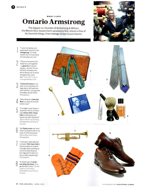 """What I Love"". Ontario Armstrong of Armstrong & Wilson latest feature in Philadelphia Magazine!"
