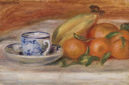 stilllifequickheart: 1908 Pierre-Auguste Renoir (French Impressionist, 1841-1919) ~ Oranges, Bananas, and Teacups