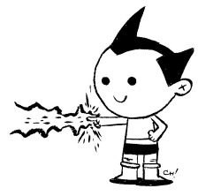 Here I have drawn ASTRO BOY for you to color! This little dude is one of my favorite dudes! He's great, because not only can he fly, but he's also got a machine gun in his butt. You can print this out and color it with crayons or on the computer all fancy like if that's your thing. (Click here for the big sized version!) Either way is totally fine with me, just be sure to let me know how it turns out by giving me a shout on Twitter or dropping it in the Submissions Box! As always, sharing is caring, so if you like this or think other people you know might like to color it, reblog it or print it out and give it to them. xoch