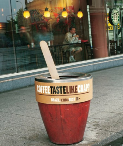 danielevin:  Coffee taste like crap? An ambient advertising example