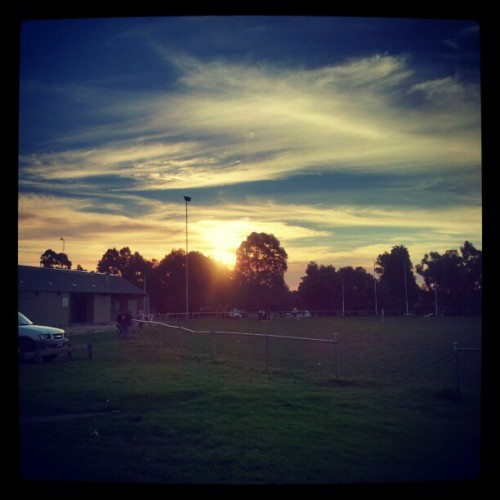 Sunset over the soccer club (oh, and I'm glad to be back ;) #sunset #soccer #instagramforandroid  (Taken with instagram)
