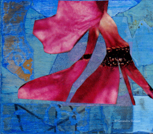 mixed media collage with flower