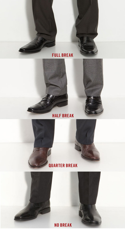How Pants Should Fit (via Primer)  A great article that highlights how suit pants or dress trousers, chinos or corduroys, jeans and shorts should fit.