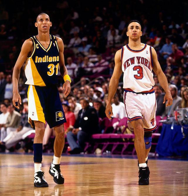 Indiana's Reggie Miller and New York's John Starks react during Game 5 of the 1994 Eastern Conference Semifinals at Madison Square Garden. Miller would score 25 points in the fourth quarter in leading the Pacers to a 93-86 win (though the Knicks would win the series in seven games). In September, Miller was be enshrined in the Basketball Hall of Fame. (Lou Capozzola/NBAE via Getty Images) GALLERY: Rare Photos of Reggie Miller
