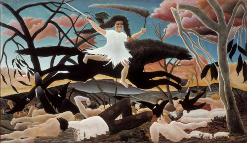 "Henri Rousseau War ca. 1894 ""this picture may well appear strange because it does not evoke anything seen before. Is that not in itself a masterly quality? [Rousseau] has the rare merit today of having a style that is completely his own. He is moving towards a new art"". - Louis Roy The apocalyptic landscape is even more haunting because of the pastels— rather than blood red clouds they are pink, yet they mirror the pink flesh of the corpses filling the bottom of the landscape. The blacks of the birds and the horse are stark and frightening- the rigidity of the horse from tail to nose is unnerving and of course Discord's exaggerated mouth and eyes are. ugh. wow. Undeniably one of Rousseau's finest masterpieces."