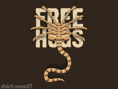 """Free Hugs"" Xenophile t-shirt today on woot  Submitted by crazyfishor"