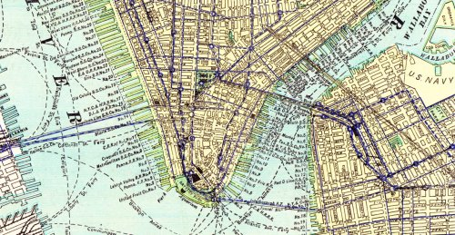 #Manhattan #NYC #ushistory #map Lower Manhattan, Circa 1912 Right click, open in new tab … to see where they used to have things. From: A Descriptive Review of the Empire State; 1912; George F Cram.