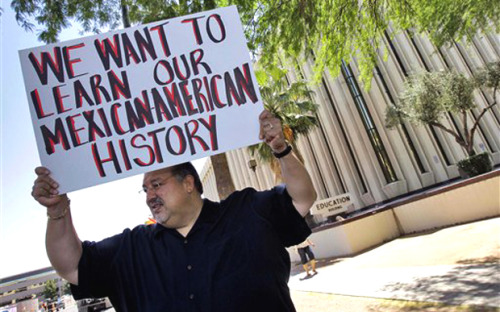 "thatonemexicangirl:  occupyallstreets:  Arizona Official Considering Banning Ethnic Studies In Universities Too Two years ago, Arizona outlawed the teaching of some ethnic studies courses in K-12 schools, and now it may expand the prohibition to universities too. Just weeks after the state passed its infamous immigration law, it also passed a law aimed at scuttling Tucson's Mexican-American studies program, which critics claimed taught kids to resent white people. The argument, at the time, was that teaching subjects like critical race theory to kids in high school amounted to indoctrination because they were not old enough to question the teaching critically, like university students. But now, Arizona's chief education official sees university-level Mexican-American sudies programs as a danger too:  Arizona's superintendent of schools, John Huppenthal, says Tucson's suspended Mexican American studies curricula teaches students to resent Anglos, and that the university program that educated the public school teachers is to blame. ""I think that's where this toxic thing starts from, the universities,"" Arizona Superintendent of Schools John Huppenthal said in an interview with Fox News Latino. ""To me, the pervasive problem was the lack of balance going on in these classes,"" Huppenthal said.  Not surprisingly, a long list of Latino groups and education activists have protested the move, as they did when the state shut down Tucson's program, decrying the imposition on free speech. ""What we're trying to do is expose children to a much broader perspective, so that we're not indoctrinating,"" said Augustine Romero, the former director of Tucson's Mexican American Studies Department. The ethnic studies law, which bans schools from offering courses designed for a specific ethnicity, had far-ranging consequences, including banning books like Shakespeare's The Tempest and other seemingly anodyne works of literature. And while many call the state prohibitions unprecedented, Devon Peña, the former director of the National Association for Chicana and Chicano Studies said, ""There is a precedent, and it's called McCarthyism."" ""It's just a witch hunt of a different color. Now, instead of going after the reds, they're going after the browns."" Source  I seriously fucking hate my state. California, please don't let me down."