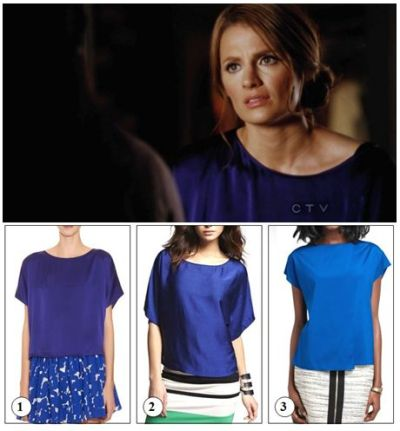 The shirt: When there are scenes of Beckett at her loft, it's very likely we catch her wearing something comfortable and relaxed-looking. This time being no exeption in this blue/purple silk wideneck tee. Design by: Thakoon Addition Orginal price: $250 The episode: 4×20: The Limey - A dead British model has Castle and Beckett working with Simon Hunt from Scotland Yard. While investigating, they become suspicious about the activities of the British Consulate's Deputy General. Lanie persuades Beckett that she needs to make a move on Castle, sooner rather than later. » GET THE LOOK «