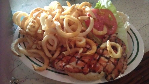 Grabbed a lunch special with a friend the other day at my local Flanigans.  I ordered a grilled chicken sandwich (which I ate without the bun) and curly fries.  Nothing fancy but quite good.