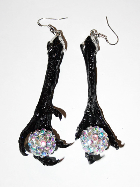 Bird Feet Earrings, holding handmade crystal balls made by Sophie Adamson Art and Accessories