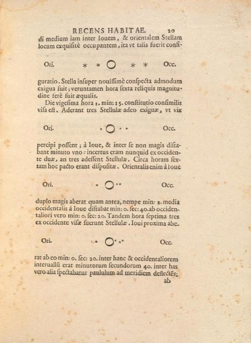 In Sidereus Nuncius…, Galileo records his observations of four bright objects arranged in a straight line near the planet Jupiter. As he observed with his telescope over several days, these objects moved, though always staying on the same plane, leading him to conclude that they were in orbit around Jupiter.