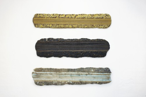Bente Skjøttgaard: Frieze P7 no 1209, 1207 and 1210, 2012, Stoneware and glaze, 180 x 45 x 7 cm. Photo: Jeppe Gudmundsen-Holmgreen
