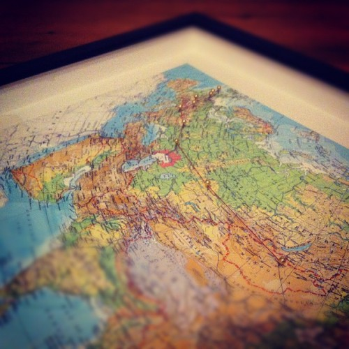 An Anniversary Present - a map of our honeymoon journey x (Taken with instagram)