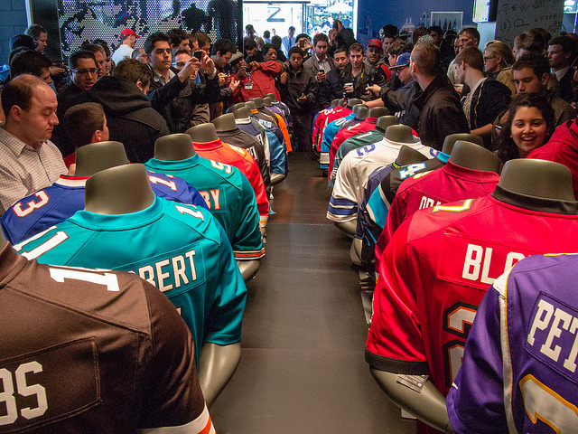 New Nike NFL Jerseys Are Here on Flickr.  My best photo from today's visit to the NFL Shop in NYC for the unveiling of new Nike jerseys