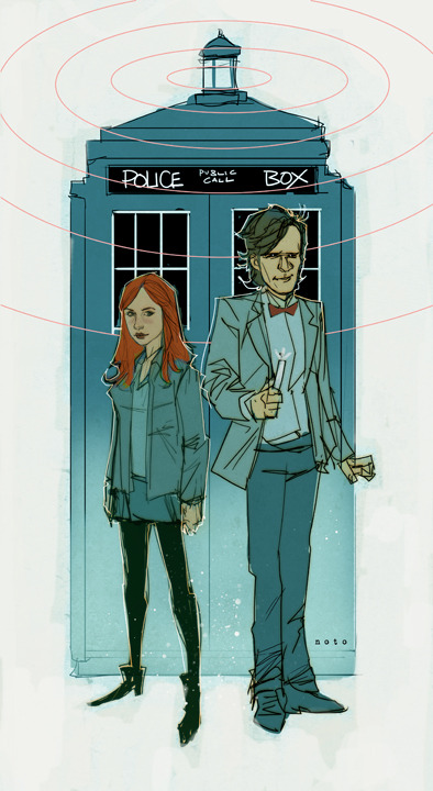 The Doctor and Amy by Phil Noto via ifanboy.com