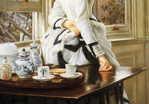 wycherley:  James Tissot (1836-1902), Reading the News (detail), 1874