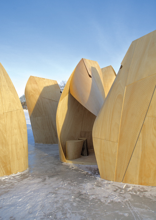 Feature about Winnipeg Skate Shelters for ION Magazine Patkau Architects seem to carefully consider the human experience within the environment surrounding their work, drawing inspiration from a fundamental truth about how culture develops around such basic phenomena as a frozen river.