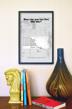 "Series of The IT Crowd inspired quote prints, the ""How can you two live like this? …don't Google the question Moss!"", is a great illustration of the irreverent humor that comes out of the UK these days."