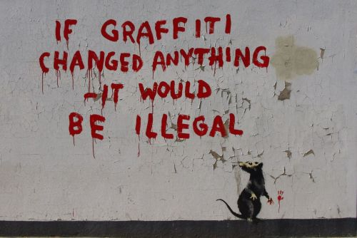 "Watched Banksy's ""Exit Through the Gift Shop"" movie. Excellent. He makes me want to go out and do street art. Although I would have no idea how or where to do it. But, something I can do is make illustrations. I need to make something with a message…something that is worth making. I am tired of everyone telling me that Graphic Design is all about what the client wants. It is also art. I am my client today and I want to make something worth looking at."