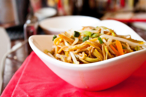Light & Healthy Vegetarian Lo Mein (picture and recipe from canyoustayfordinner) (serves 2) For the Sauce: 2 tablespoons soy sauce 1 tablespoon rice wine vinegar 2 tablespoons brown sugar 1 teaspoon toasted sesame oil 1/4 teaspoon Chinese five spice powder 2 teaspoons grated fresh ginger 2 teaspoons minced garlic 1/2 teaspoon Sriracha hot chili sauce 2 teaspoons cornstarch Remaining Ingredients: 2 teaspoons canola oil 2 cups bean sprouts 1/2 cup thinly sliced scallions, white and green parts 1 cup shiitake mushrooms, sliced 1 cup shredded Napa cabbage 1/4 cup grated carrot 6 oz Chinese egg noodles or whole wheat spaghetti Cook the egg noodles or spaghetti according to package instructions, drain and set aside. Stir all sauce ingredients together in a small saucepan set over medium heat. Bring to a boil, reduce heat and simmer until thickened and glossy, about 3 minutes. Set aside. Meanwhile, set a large wok or skillet over medium-high heat. When the pan is hot, add the two teaspoons of canola oil and swirl to coat. Add the bean sprouts, mushrooms, cabbage, and carrot. Saute for about 3 minutes, or until the vegetables begin to soften. Add the cooked egg noodles and the sauce, tossing to combine. Serve immediately. Nutrition information for 1 serving: Calories: 422, Fat: 8.4g, Cholesterol: 0mg, Fiber: 4g, Sugars: 19.1g, Protein: 11.7g