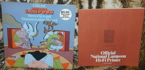 National Lampoon - Official Stereo Test and Demonstration Record by Ed Subitsky, with the voices of Stan Sawyer, John Belushi, Chevy Chase and Emily Prager.