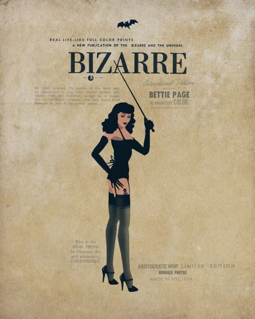 "eroticolor:  ""BETTIE PAGE in magnificent color -  Betty Page in Bizarre"" by lorenzo eroticolor on canvas 120/100 cm - deluxe Print 4 ex."