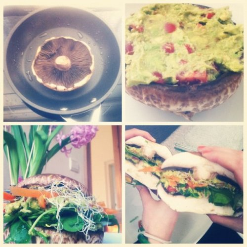 ruetheterrible:  fit-bananna:  ruetheterrible:  Portobello burgerrr >:O Remember how I bitched about portobellos being pricey as all fuck just yesterday? I guess I bought them anyway. This happened.  Such a good idea. Imagine making stackers with smaller mushrooms too?!  I know! I'm planning to with shiitakes and oyster mushrooms. I commute everyday, so I'd love to have them as mini-sandwiches for on the road. :D  Yummm! Let me know how it goes if you get to it before I do!! I pretty much live out of my car with how much driving around I do, so I know what you're saying! xo