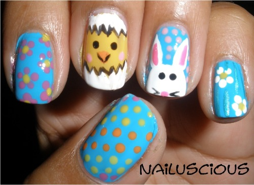 OK. After studying all the Easter nails out there I decided to finally do them on myself.
