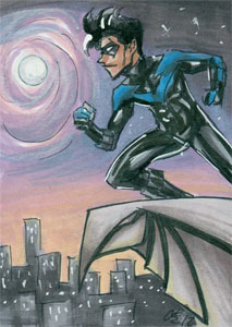 Nightwing! 2.5x3.5 inches, ink and marker.
