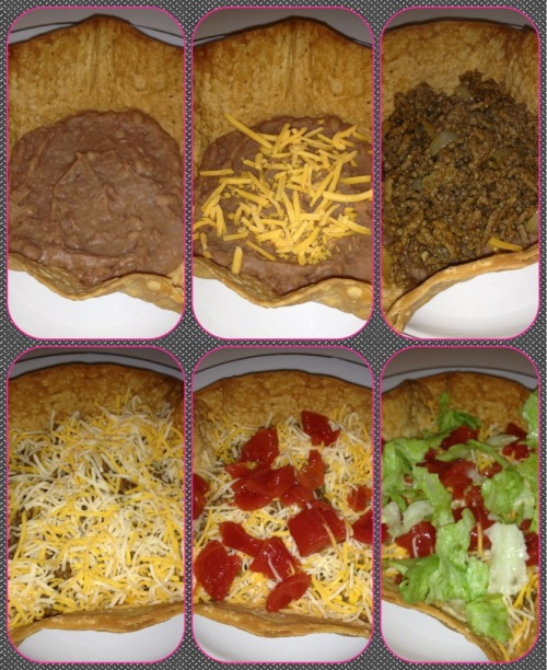 Prepping my taco salad: •Aztec taco shell •Refried Beans •Sharp cheddar cheese •Beef with grilled onions •Taco shredded cheese •Diced tomatoes, lettuce and sour cream!