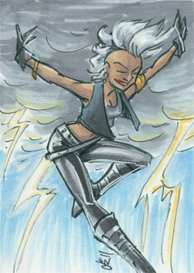 "Punk Storm is best Storm. Then again ""whatever Storm I'm looking at"" is Best Storm. 2.5x3.5 inches, ink and marker."