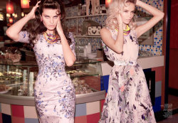 Natasha Poly and Isabeli Fontana sport Erdem florals in Vogue China March 2012.
