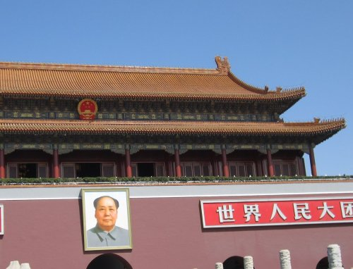 tried to visit mao at the memorial hall yesterday, but the hall was closed in advance of qing ming today, when visitors are expected to increase and his visiting hours are extended. so we waved and went on our way across to the tiananmen gate and into the forbidden city. it's probably for the best. you have to check all your stuff and sometimes the queues can weave around the building.  if you do want to go, definitely take exit A out of qianmen station. it's a bit of an epic adventure to get into the square if you don't.