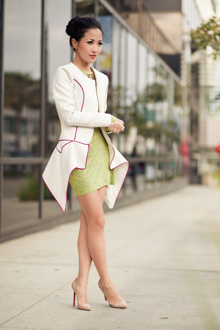 Jacket :: Patricia Chang, Dress :: T by Alexander Wang, Shoes :: Christian Louboutin, Accessories :: Stella & Dot (image: wendyslookbook)