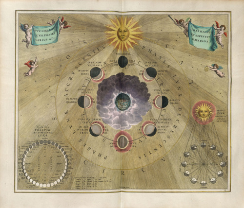missfolly:  Andreas Cellarius: Phases of the Moon, Harmonia Macrocosmica (17th Century)