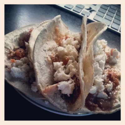 3 homemade tacos #chicken #beans #casique #redsalsa (Taken with instagram)
