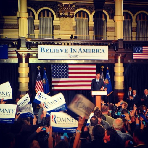 yahoonews:  hollybailey:  Mitt Romney at his election night rally in Milwaukee WI (Taken with instagram)  AP has called all three of tonight's primaries for Romney.