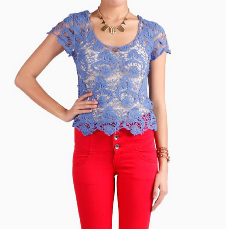 blue lace crop top a little see through but very on trend and easy to pair with almost anything to be comfy chic cute and even on trend! this light deep blue is perfect to wear with jean shorts or white to add a pop of something to any outfit