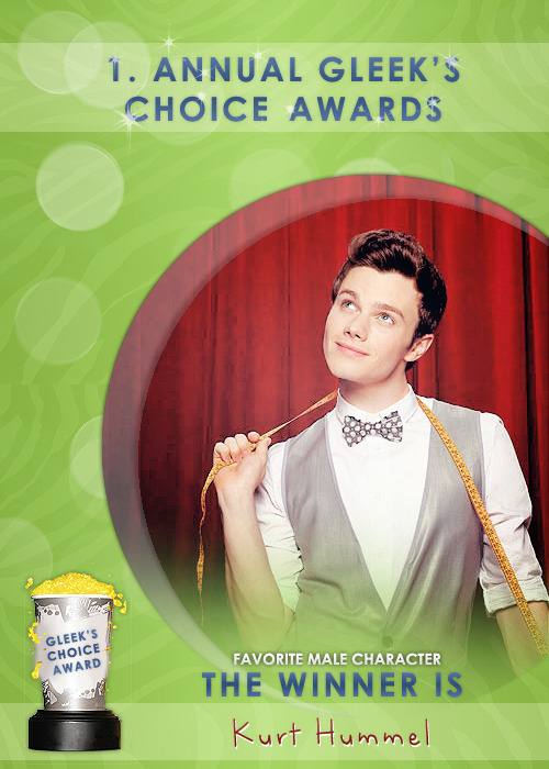 #GleeksChoiceAwards The Award for your Fav. Male Character is Kurt Hummel - @ChrisColfer