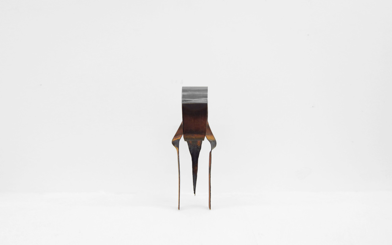 The Metamorphosis / Brighton 20113-leg steel stool, from single steel sheet