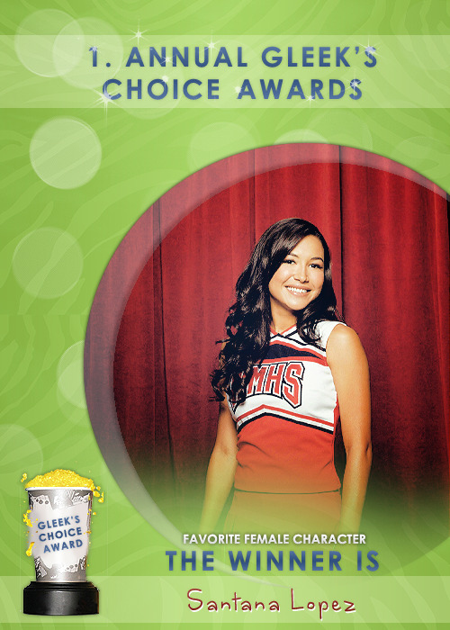 #GleeksChoiceAwards The Award for your Fav. Female Character is Santana Lopez - @NayaRivera