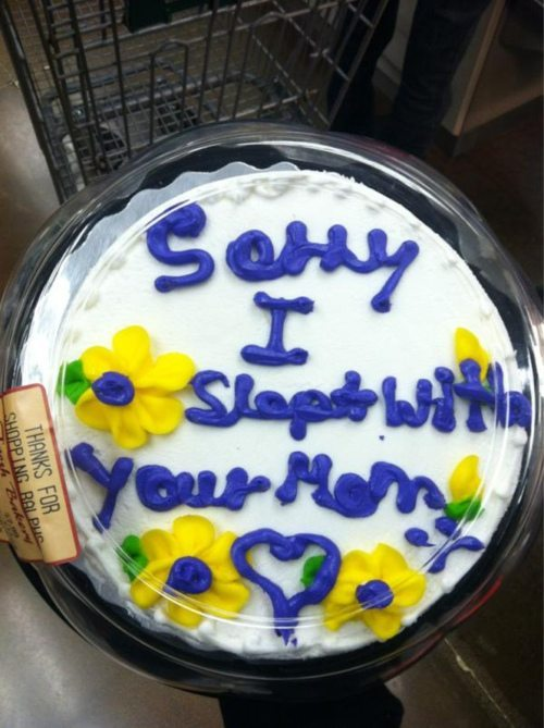 best-of-funny:   chronicdelight: My dad gives me this cake EVERY year on my birthday.  X  and that was how Damian found out about Jason's night with Talia