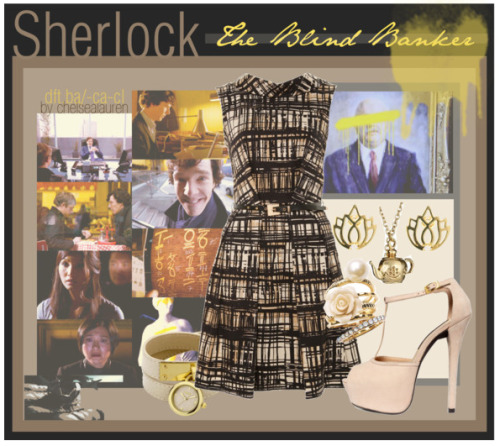 "(BBC) Sherlock | Set by Episode [5] by chelsealauren10 featuring cotton dresses  Sherlock 01.02 - ""The Blind Banker""    Cotton dress, £25Oasis jewelry, $50Ariella Collection flower jewelry, $68Melissa Odabash leaf earrings, £29"