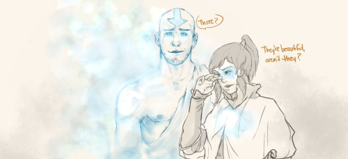 jasjuliet:  Afterward, Korra couldn't decide if showing Aang his grandchildren had been the wisest thing to do, but that night, she slept peacefully and dreamt of sky bisons. First Panel